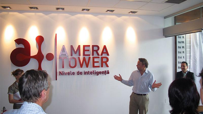 presenting the amera tower logo